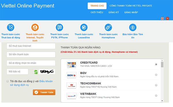 Đóng tiền Internet Viettel qua website VTPay