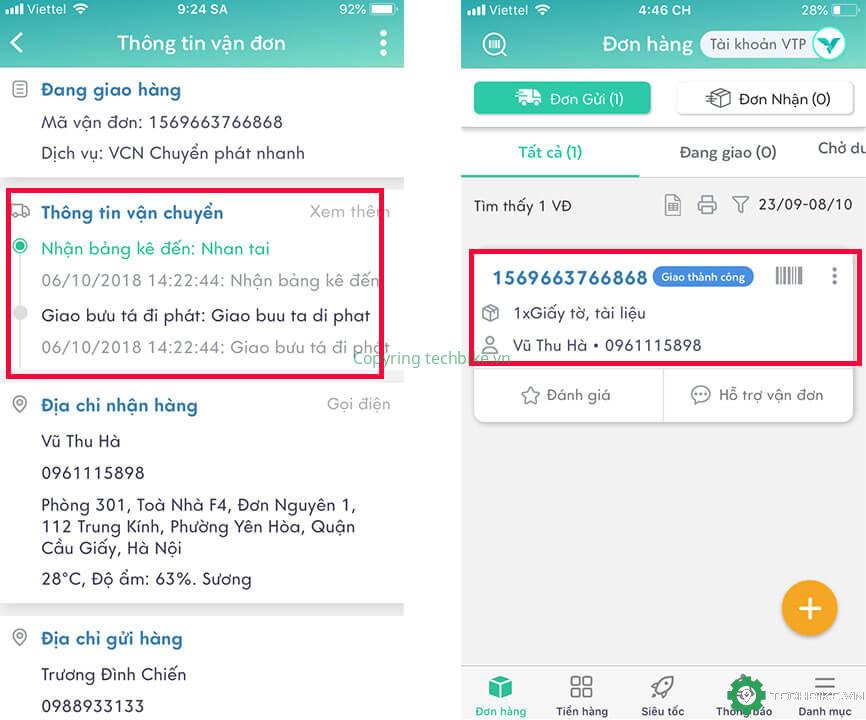 Kiểm tra vận đơn trên app